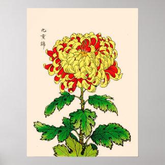 Chrysanthème japonais vintage. Jaune de moutarde Posters
