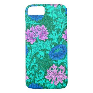 Chrysanthèmes, Aqua et violette de William Morris Coque iPhone 7