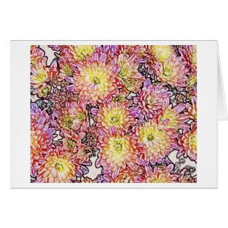 Chrysanthèmes dans les lignes carte pour notes de