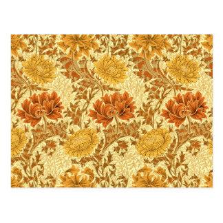 Chrysanthèmes de William Morris, or de moutarde Carte Postale