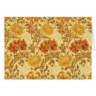 Chrysanthèmes de William Morris, or de moutarde Cartes De Vœux