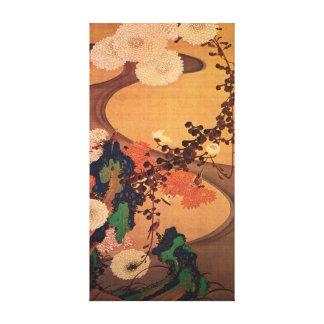 Chrysanthèmes d'Ito Jakuchu par un courant avec Toile