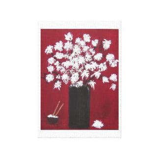 Chrysanthèmes et le bol de riz toile