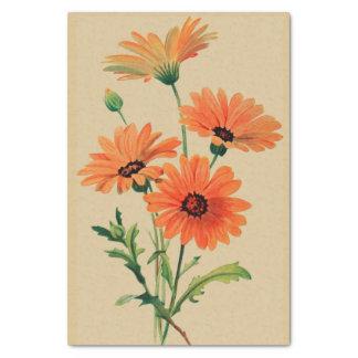 """Chrysanthèmes oranges 10"""" X 15"""" papier de soie de"""