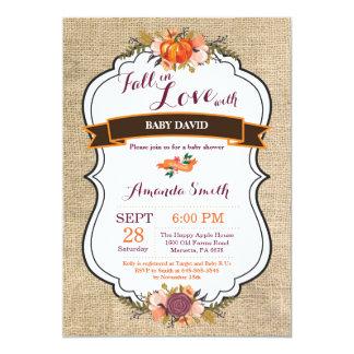 Chute en toile de jute d'invitation de baby shower carton d'invitation  12,7 cm x 17,78 cm