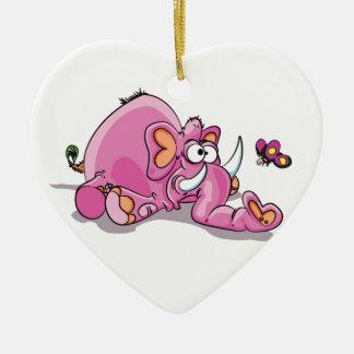 chutes d'éléphant rose ornement cœur en céramique