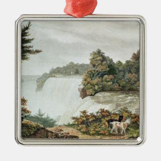 Chutes du Niagara, d'île de chèvre Ornement Carré Argenté