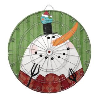 Cible De Fléchettes Bonhomme de neige de Noël avec l'oiseau de chant