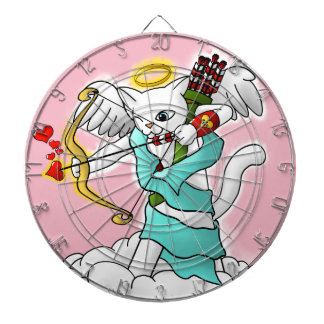 Cible De Fléchettes Chat blanc de cupidon de neige de Saint-Valentin