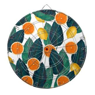 Cible De Fléchettes Citrons et oranges blancs
