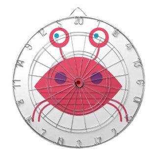 Cible De Fléchettes Crabe rose sur le blanc