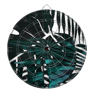 Cible De Fléchettes Feuille tropical vert-foncé métallique