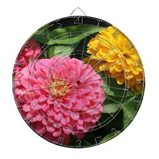 Cible De Fléchettes Fleurs roses et jaunes -
