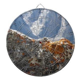 Cible De Fléchettes Lichens oranges s'élevant sur le visage de roche