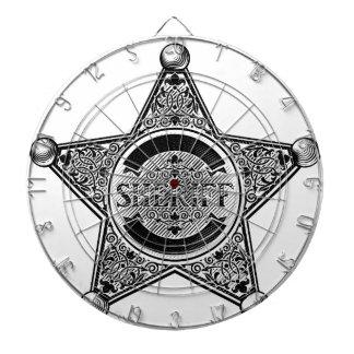 Cible De Fléchettes L'insigne d'étoile de shérif a gravé à l'eau-forte