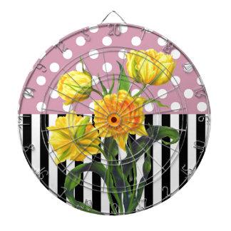 Cible De Fléchettes motif de point jaune de polka de tulipe