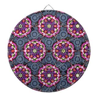 Cible De Fléchettes Motifs floraux et cercles gris