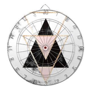 Cible De Fléchettes Triangles, or, noir, rose, marbres, collage,