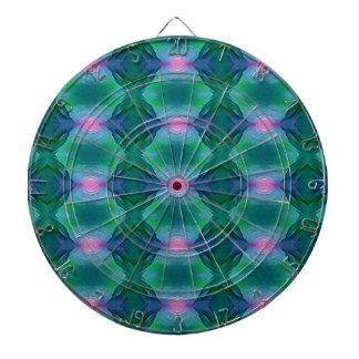 Cible De Fléchettes Verts bleus modernes vibrants avec le motif de