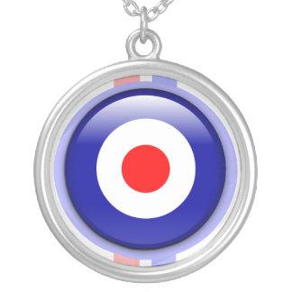 cible de mod 3d sur les lignes bleues et rouges pendentif rond
