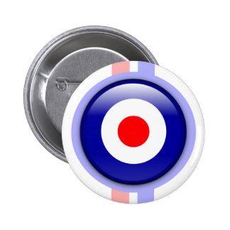cible de mod 3d sur les lignes bleues et rouges pin's