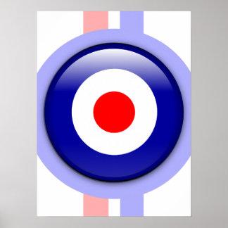 cible de mod 3d sur les lignes bleues et rouges poster