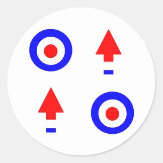 Cible et flèches de mod autocollants ronds