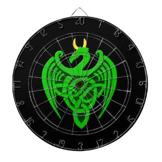 Cibles De Fléchettes Cible celtique verte de dragon