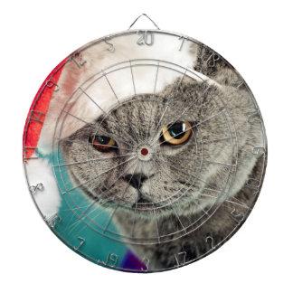 Cibles De Fléchettes Noël gris de chat - chat de Noël - chat de chaton