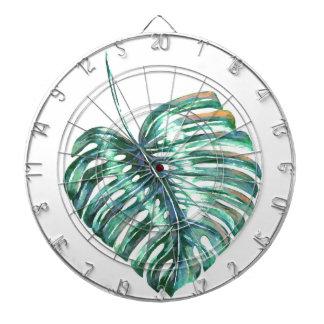 Cibles De Fléchettes Paume verte de feuille de monstera tropicale