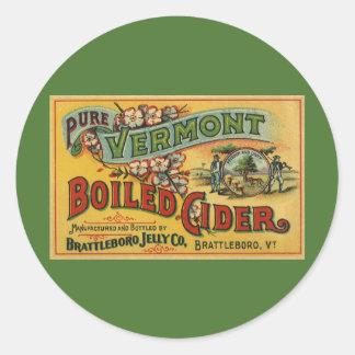 Cidre bouilli par gelée vintage Vermont de Sticker Rond