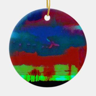 Ciel abstrait d'horizon modifié la tonalité par ornement rond en céramique
