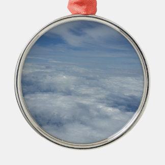 ciel bleu de matin ornement rond argenté