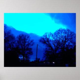 Ciel bleu la nuit affiche