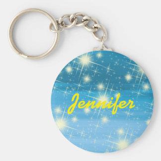 Ciel bleu personnalisé avec les étoiles brillantes porte-clé rond