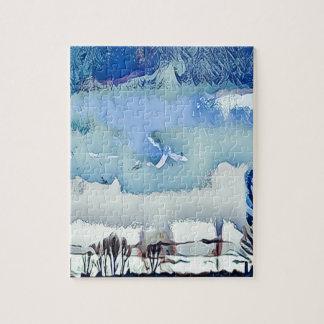 Ciel coloré d'horizon d'abrégé sur bleu d'hiver puzzle
