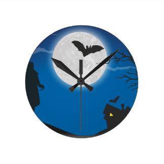 Ciel de clair de lune horloge ronde