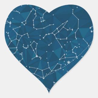 Ciel nocturne bleu de polygone sticker cœur
