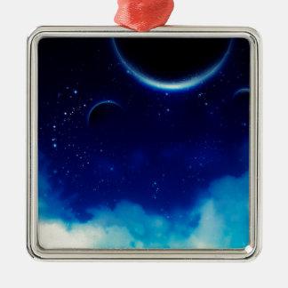 Ciel nocturne étoilé ornement carré argenté