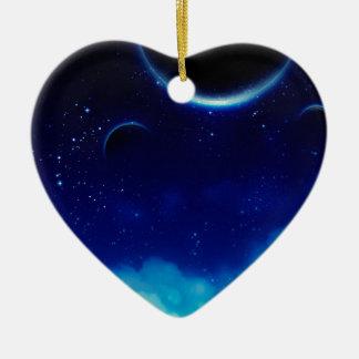 Ciel nocturne étoilé ornement cœur en céramique
