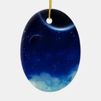 Ciel nocturne étoilé ornement ovale en céramique