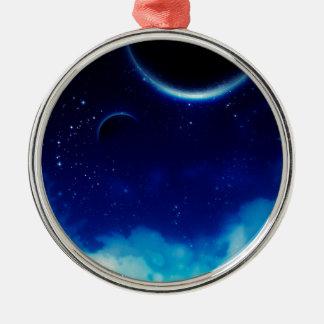 Ciel nocturne étoilé ornement rond argenté