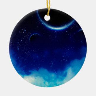 Ciel nocturne étoilé ornement rond en céramique