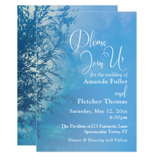 Ciel rêveur éthéré de saule pleurant épousant 2 carton d'invitation  12,7 cm x 17,78 cm