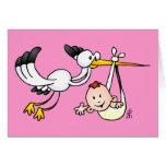 Cigogne avec le bébé carte de vœux