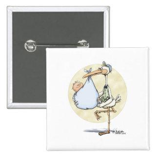 Cigogne - bébé badge carré 5 cm