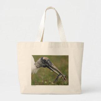 Cigogne en bois sac fourre-tout