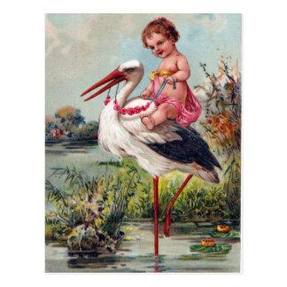 Cigogne et bébé à partir de 1909 carte postale