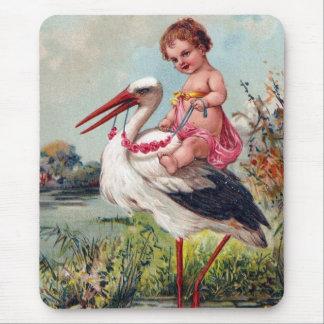 Cigogne et bébé à partir de 1909 tapis de souris