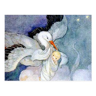 Cigogne et bébé carte postale